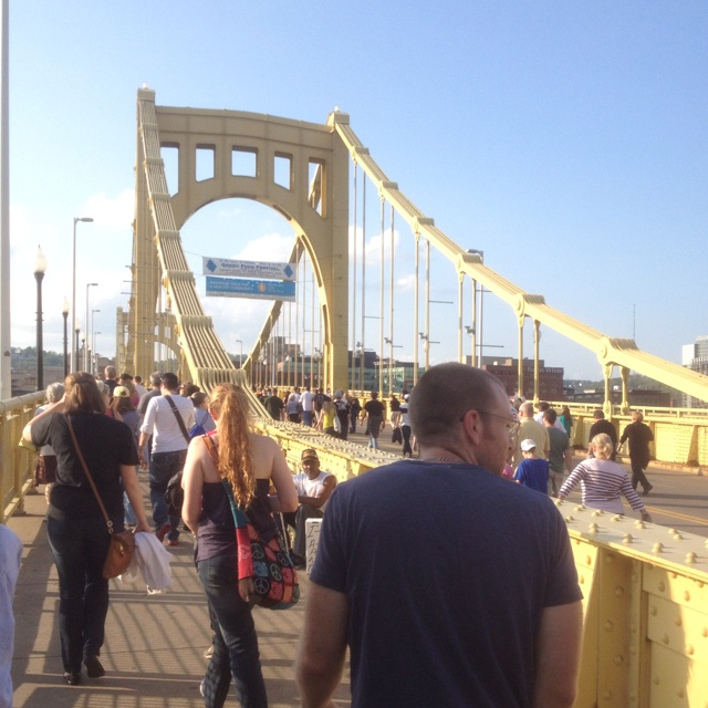 The Roberto Clemente Bridge going from downtown Pittsburgh to PNC Park (home of the Pittsburgh Pirates)