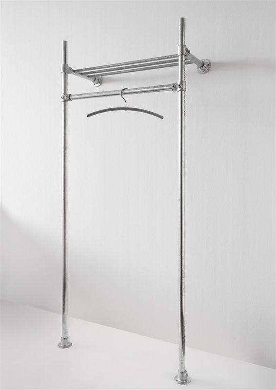 one can also use plumbing pipes. this is such a good idea for the laundry room or for extra hanging space.