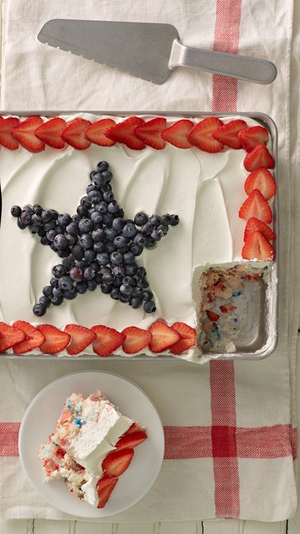 Red, white and blue all the way through! Layers of angel food cake, fresh berries and pudding make for a refreshingly easy Fourth of July treat that's a cinch to prep in advance. Make sure to use a glass baking dish to show off the pretty layers!
