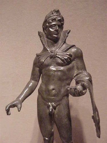 Herakles carrying the golden apples Etruscan 3rd - 1st century BCE Bronze  Walter Museum