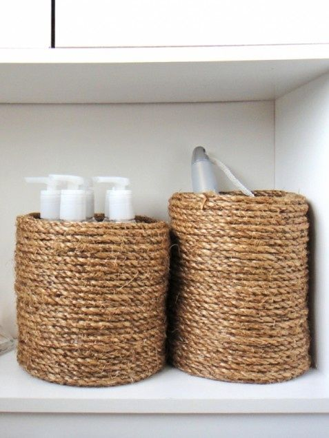 Great #DIY Home Decor Ideas.... wrap an ordinary empty coffee can with glue  jute/rope to store toiletries.