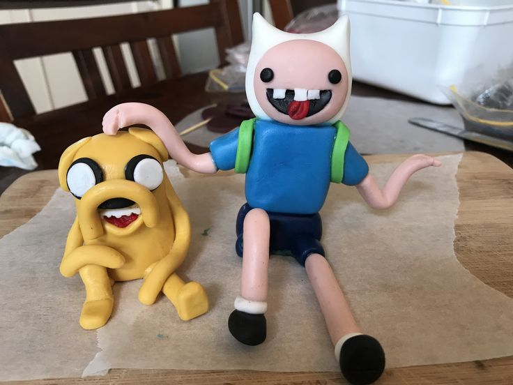 Fondant Adventure Time cake toppers