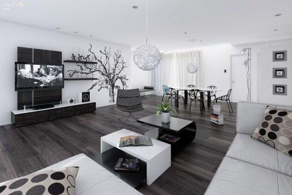 belle deco salon contemporain noir et blanc   Salons, Deco salon ...