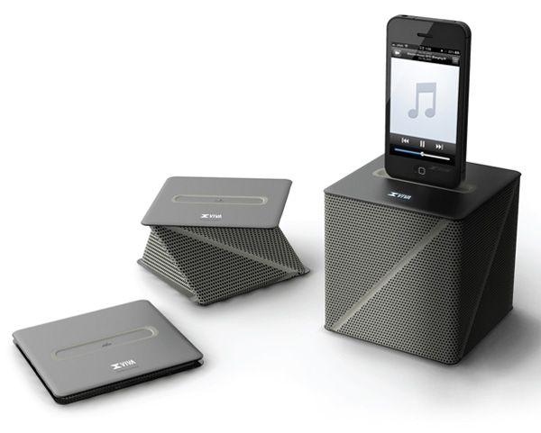 Flat pack portable speaker.