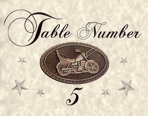Qty 15 Motorcycle biker Wedding favor Table place by handykane, $14.99