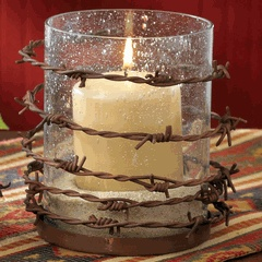 Barbed Wire Pillar Candle HolderDecor Ideas, Country Rustic Bedroom, Candle Holders, Candles Holders, Camo Bedroom, Barbed Wire, Center Piece, Rustic Country Bedroom, Wire Candles