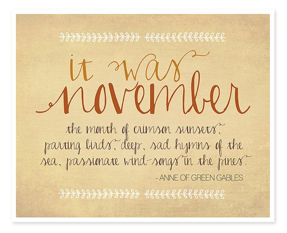 November Anne of Green Gables Typography print, Fall ...
