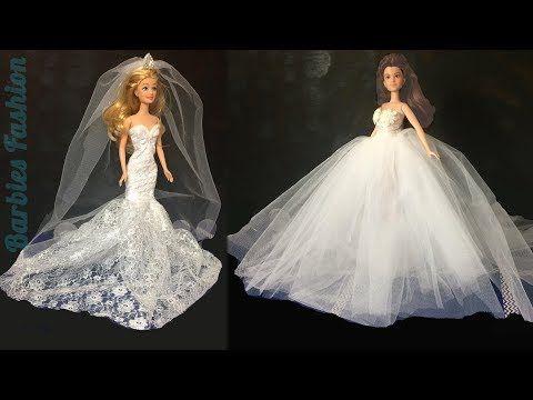 2 DIY BARBIE WEDDING DRESSES & MORE BARBIE CRAFTS AND HACKS – YouTube