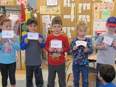At large group time a favorite activity has been SECRET SENTENCE time!  Working together we read the words and figure out where they belong.  We have been learning that a sentences begins with a capital letter and ends with a punctuation mark.