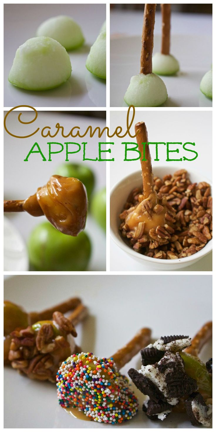 "Caramel Apple Bites - Using a pretzel stick as the ""holder"" makes these bites 100% edible and no messy sticks leftover. Also the perfect sweet and salty bite.2 Bees in a Pod"