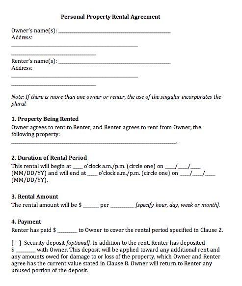 Printable Sample Rental Agreement Templates Form