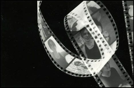 Puja-photogram I love how the negative film is curled in this photogram because it clearly shows the different pictures on each section.
