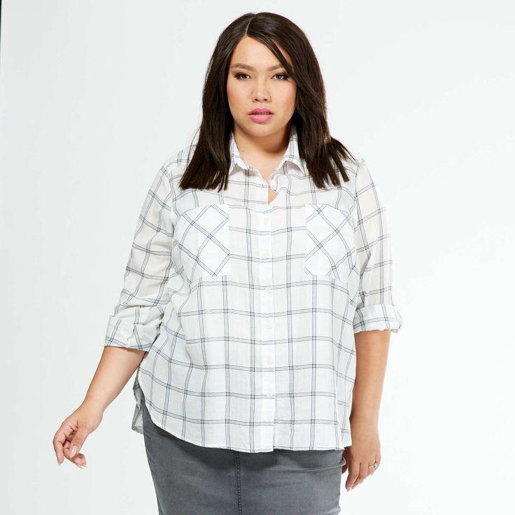 Chemise à carreaux en coton                                  carreaux rose/bleu Grande taille femme