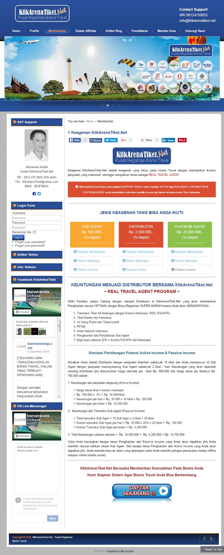 Klik Arena Tiket. Website bisnis dengan desain simple elegan. Website B2B (Business to Business) memberikan kemudahan bagi bisnis tour travel untuk melengkapi bisnisnya dengan bisnis tiket online.
