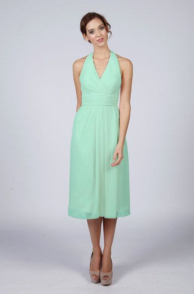 Beautiful Halterneck Knee Length Bridesmaid Prom Dress in a Range of Colours including Mint Green