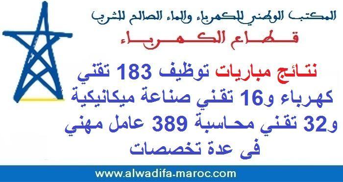 قطاع الكهرباء نتائج مباريات توظيف 183 تقني كهرباء و16 تقني صناعة ميكانيكية و32 نقني محاسبة 389 عامل مهني في عدة تخصصات Oral Casablanca Recrutement