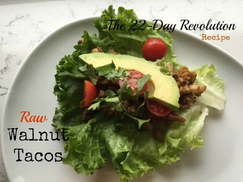 These Raw Walnut Tacos {The 22-Day Revolution} make a great quick lunch or dinner and are healthy and delicious. Ready in 10 minutes.