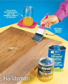 Photo 1: Make your own sealer (2 parts poly/1 part mineral spirits) for first coat to seal, then just poly next two coats creates smooth finish.