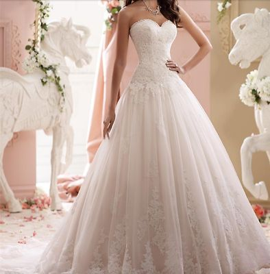 Details about New White/Ivory Lace Wedding Dress Sweetheart Strapless Drop Waist Chapel Train