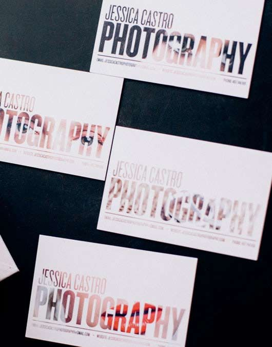 Fun idea for a photographer business card by having a photograph revealed through the typography