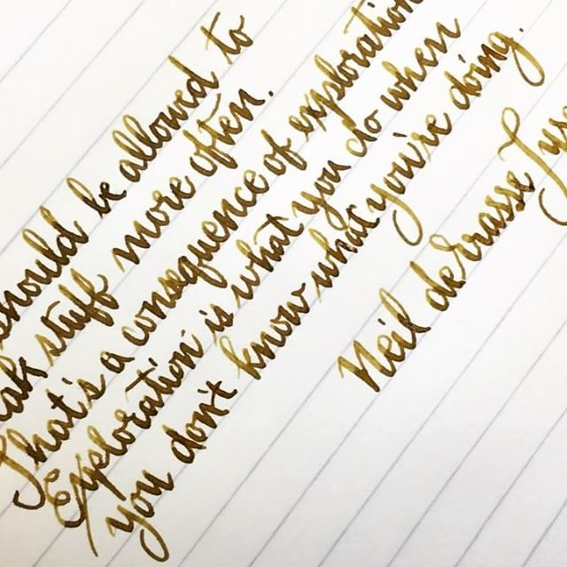Great quote from @neiltyson on allowing ourselves to explore and grow from our mistakes. Written with an @omas_official Ogiva cocktail with 14kt extra fine extra flessibile nib and Callifolio Heure Doreè ink on Rhodia 90gsm ivory ruled paper.