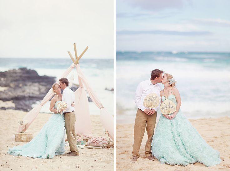 Swooning over this bride s unique mint colored dressBest 25  Hawaii wedding dresses ideas on Pinterest   Destination  . Hawaii Wedding Dress. Home Design Ideas