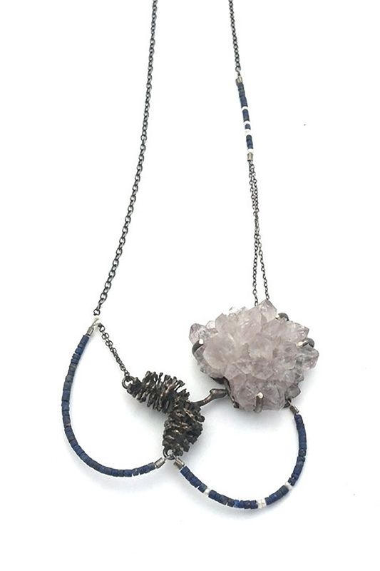 Anna Johnson jewelry. Alder Necklace :: Amethyst, lapis lazuli, freshwater pearls, sterling silver, cast bronze alder. COPYRIGHT 2015. ALL RIGHTS RESERVED.