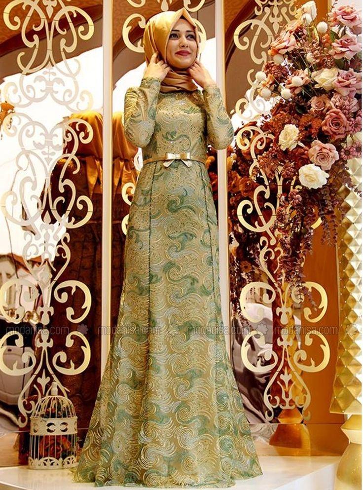 Lilas Evening Dress - Green - Gamze Polat