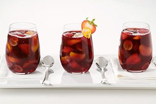 Sangria  2 C water, 2 C Red wine, 1 pkt. (makes 2 qt. drink) Crystal Light Lemonade Drink Mix, 1 sliced Navel orange, 1 sliced Apple, 1 sliced Lime, 2 C Club Soda  1. Mix Water, Wine, & Drink Mix 2. Stir in all remaining ingredients except club soda. Refrigerate several hours or until chilled.  3. Add club soda just before serving & stir.