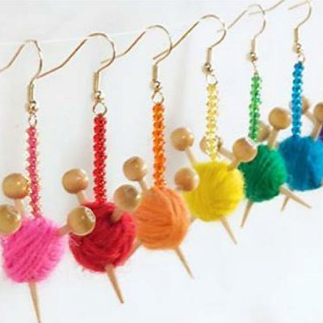 Knitting DIY earrings... these are cute, know some friends they would be good for