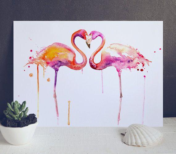 Flamant rose amour Art Print - aquarelle oiseau Art Illustration à vendre