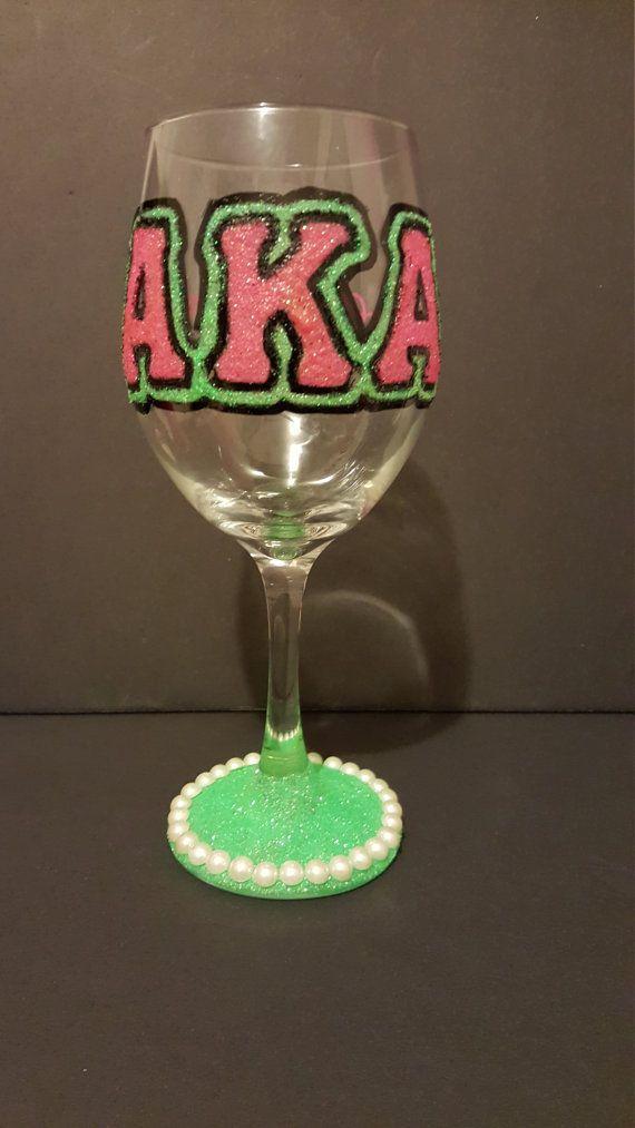Alpha Kappa Alpha Sorority Inc Wine Glass by AmazingJsDesigns
