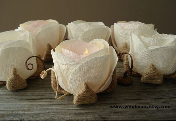 Flower LED Candle Holders Set of 6 Rustic Wedding by VENDecor