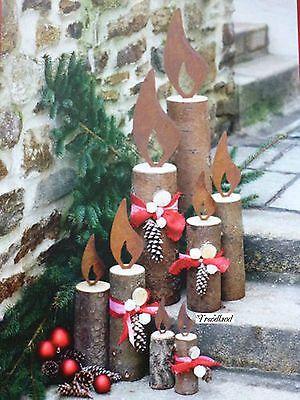 Edelrost Flamme für Baumstamm zur Wahl Kerze Weihnachten Advent Licht Dekoration