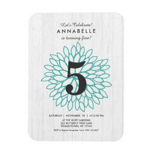 White Wood Teal Floral Birthday Party Invitation Magnet