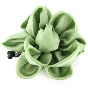 Sage Green - Silky Satin - Floral Bow - Banana Hair Clip by Evolatree. $14.99