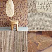 Haal de natuur in huis! In de collectie van Schoone WOONwensen hebben we 'Natural Wall covering' opgenomen waarin gras, bamboe, hout en zelf bladeren zijn verwerkt. Omring je met pure materialen, haal de natuur in huis.
