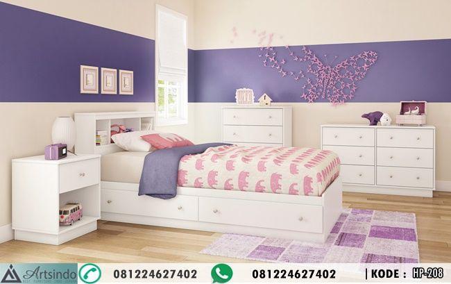 Tempat Tidur Anak Minimalis ( Ranjang, 2 Nakas , 2 lemari laci ) bahan kayu mahoni finishing duco dengan dipan ukuran 120 x 200 cm model rak buku laci