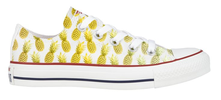 3s a Pineapple Converse Low Top. Iconic canvas low-top sneaker. Cool, comfortable and versatile. Customize your kicks and add your personal touch. Every shoe is hand printed by our skilled artists.