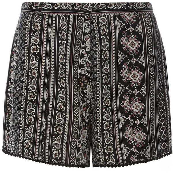 Dorothy Perkins Petite black and pink boho shorts (965 PHP) ❤ liked on Polyvore featuring shorts, bottoms, petite, dorothy perkins, petite shorts, boho shorts and rayon shorts