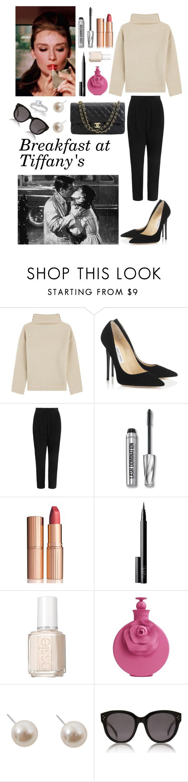 Holly Golightly (Breakfast at Tiffanys) inspired look by mariancoviella on Polyvore featuring Étoile Isabel Marant, Zimmermann, Jimmy Choo, Humble Chic, CÉLINE, Charlotte Tilbury, NARS Cosmetics, Valentino, Essie and Bare Escentuals