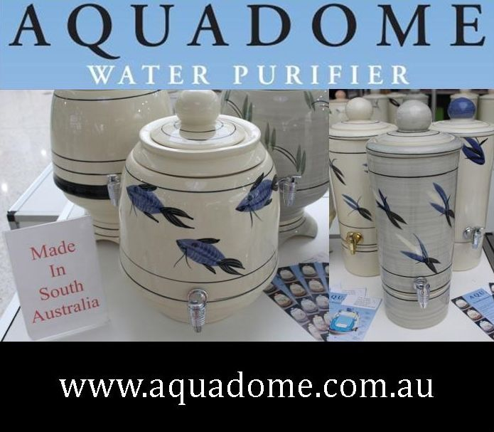 Aquadome Water Purifiers. Hand-painted Ceramic Water Purifiers, made in South Australia. Sold all over Australia. Purify your water for only 2-3 cents per litre. No expensive plumbing needed. Visit www.aquadome.com.au. #WaterPurifiers #WaterFilters #FlourideFilter
