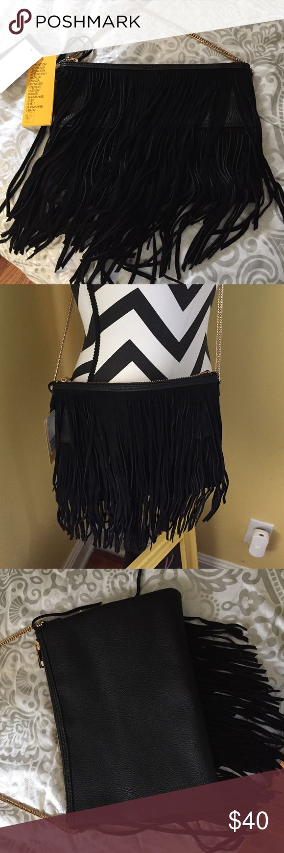 H&M Purse H&M Black purse. New/never used. Excellent condition. Gold hardware. Suede fringes on front. Can be worn as shoulder bag, clutch or Crossbody. H&M Bags Shoulder Bags