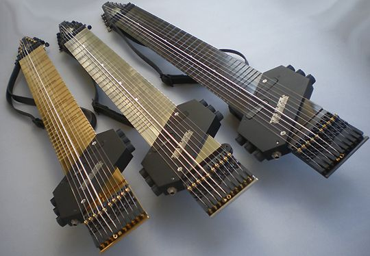The Chapman Stick, a bass and guitar combo played by hammering or tapping the strings - www.stick.com