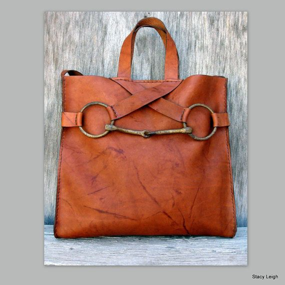 Equestrian Vintage Horse Bit Tote Bag in Saddle Montana Leather by Stacy Leigh Made to Order