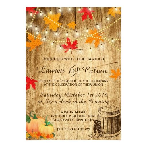 Nice Fall Wedding Invitation For A Rustic Wedding Design Ideas