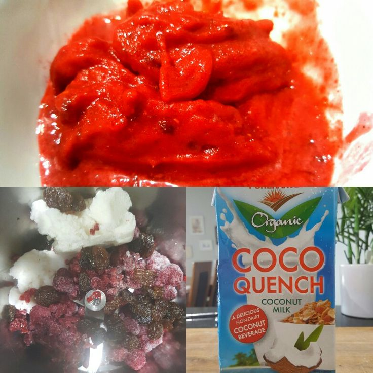 Frozen raspberrys + frozen coconut milk + raisins blitzed up = deliciousness. No dairy. No sugar.
