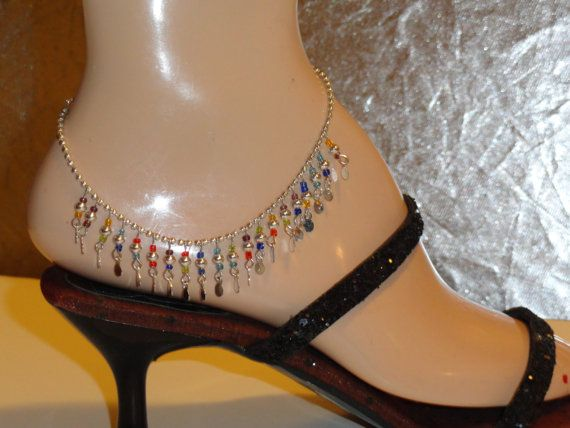 $35.00   Indian Jewellery. Handmade anklet. White metal anklet. Ethnic Indian anklet. Bead and sequins anklet. From Artikrti.