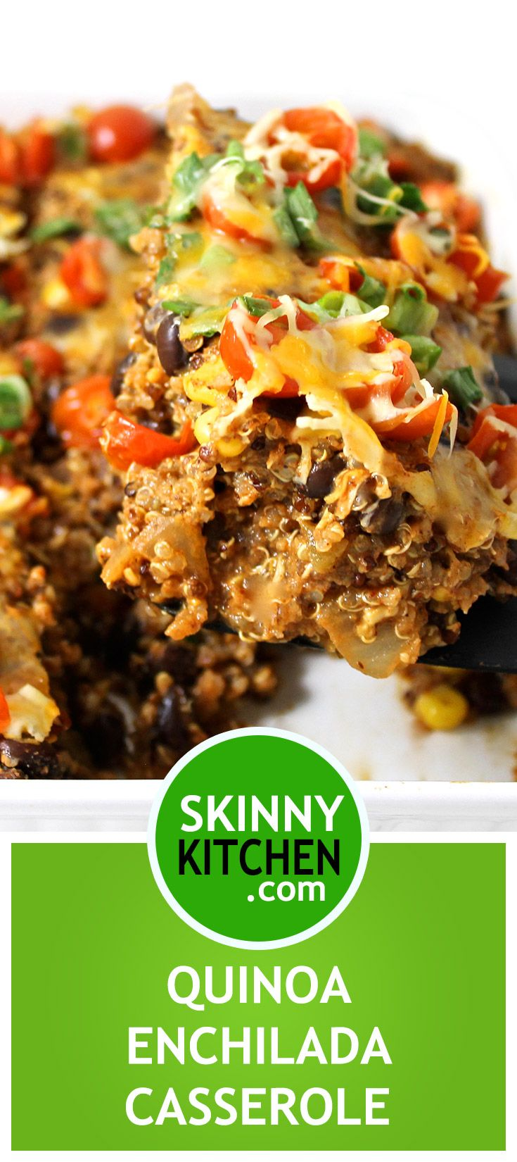 For #meatlessmonday:Skinny, Vegetarian Quinoa Enchilada Casserole. It's a lightened-up, healthy enchilada casserole chockfull of quinoa, black beans and corn. One serving has 293 calories, 7g fat & 8 Weight Watchers POINTS PLUS. http://www.skinnykitchen.com/recipes/skinny-vegetarian-quinoa-enchilada-casserole/