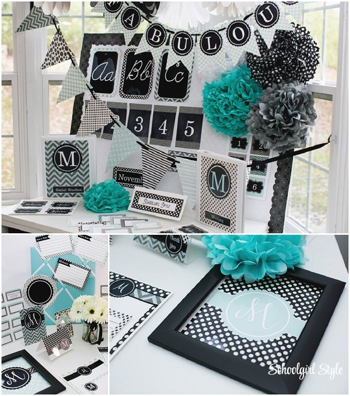 Turquoise Black Gray Clroom Theme From School Style